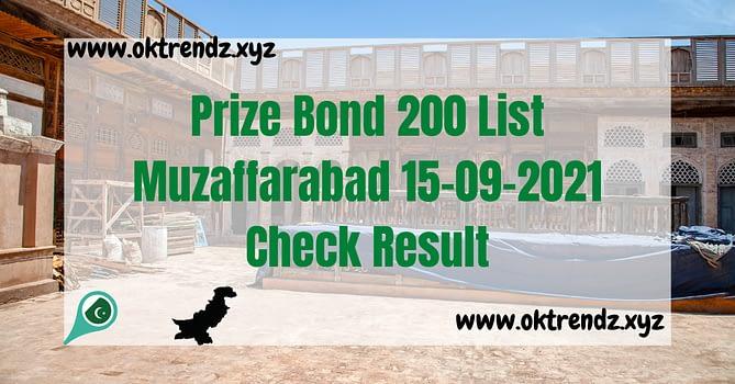 Muzaffarabad prize bond draw list of rs 200
