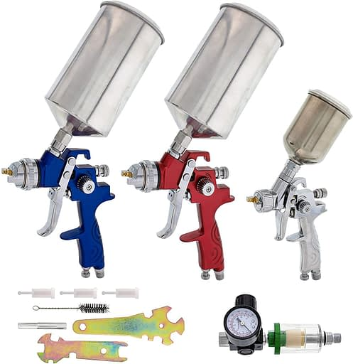 6. TCP Global Complete Professional 9 Piece HVLP Spray Gun Set