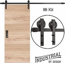 INDUSTRIAL 8ft Single Sliding Barn Door Hardware Set